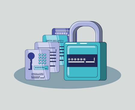 financial technology set icons vector illustration design  イラスト・ベクター素材