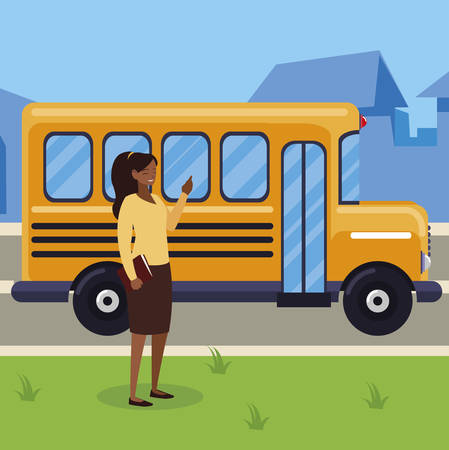 black female teacher in bus stop vector illustration design