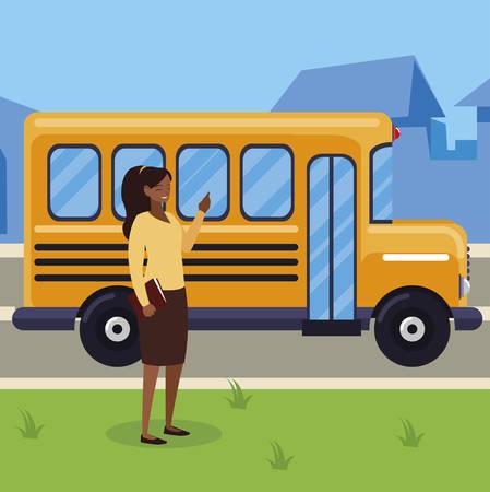black female teacher in bus stop vector illustration design