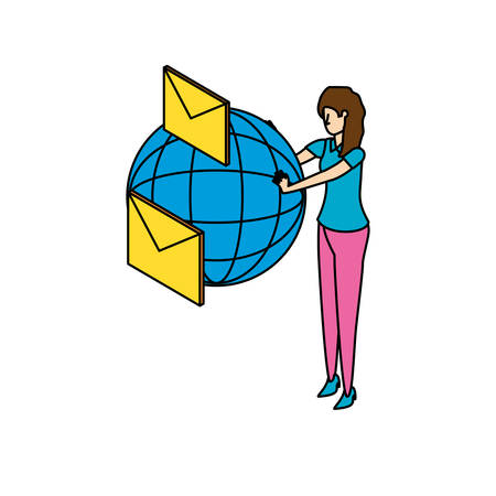 businesswoman with sphere browser and envelopes vector illustration design 写真素材 - 129285987