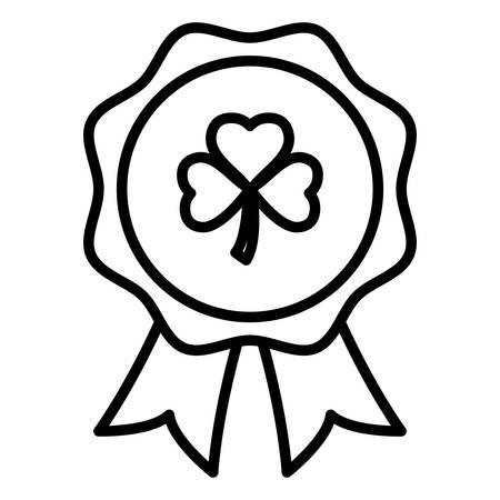 medal with st patrick clover leaf vector illustration design Иллюстрация
