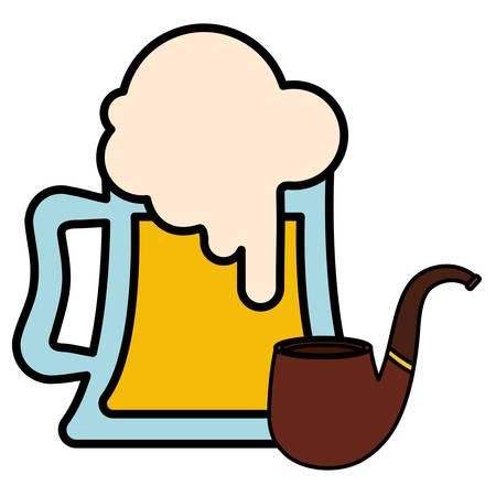 beer jar with pipe wooden vector illustration design Иллюстрация