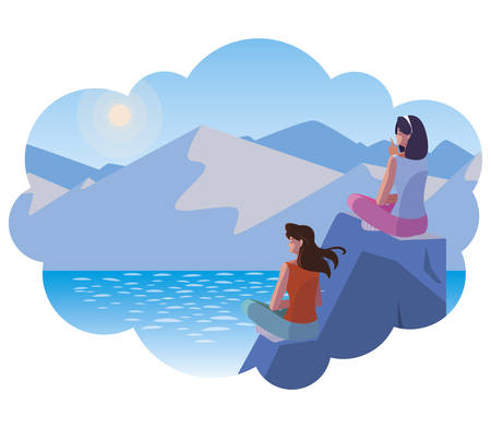 women couple contemplating horizon in lake and mountains vector illustration