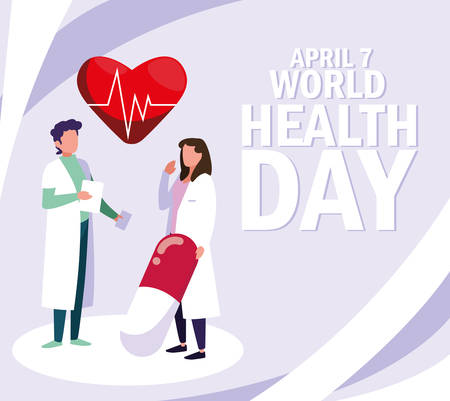 world health day with couple doctors and icons vector illustration design Çizim