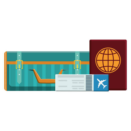 suitcase travel with passport document vector illustration design 向量圖像