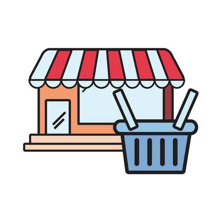 online shopping market basket on white background vector illustration