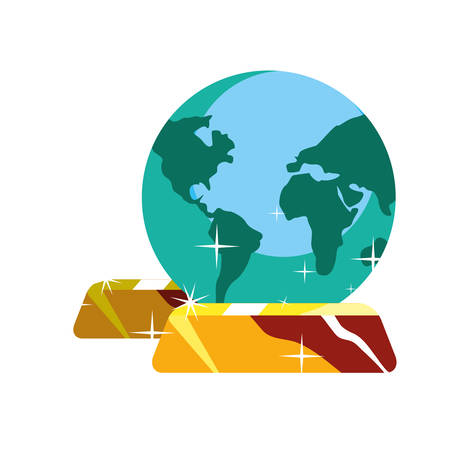 planet gold bars on white background vector illustration Иллюстрация