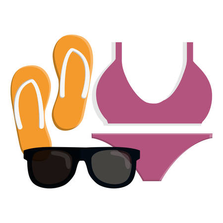 female swimsuit bikini with flip flops and sunglasses vector illustration design