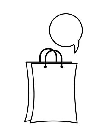 shopping bag with speech bubble vector illustration design Illustration