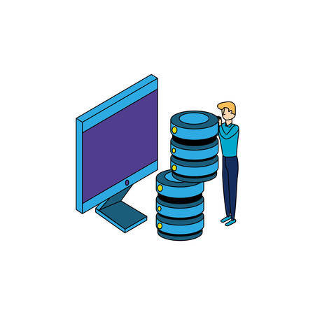 businessman worker with computer and data center disks vector illustration design