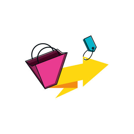 tag commercial with bag shopping and arrow vector illustration design