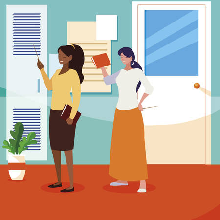 interracial female teachers couple in school corridor vector illustration design Ilustração