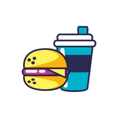 hamburger fast food with shopping bag vector illustration design Illustration