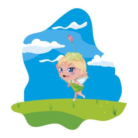 beautiful magic fairy in the camp vector illustration design Ilustração