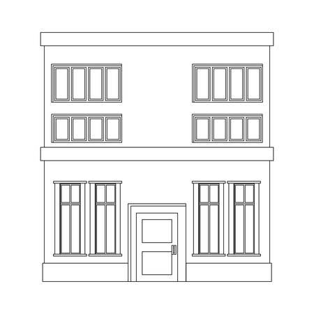 outline building house on white background vector illustration