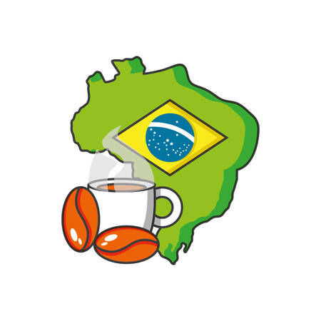 map of brazil with cup coffee vector illustration design Stock Illustratie