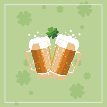 saint patrick beer jar with clover leaf vector illustration design Иллюстрация