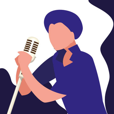 singer with microphone character vector illustration design Stok Fotoğraf - 129369166