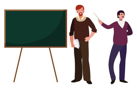teachers couple with chalkboard characters vector illustration design Stock Illustratie