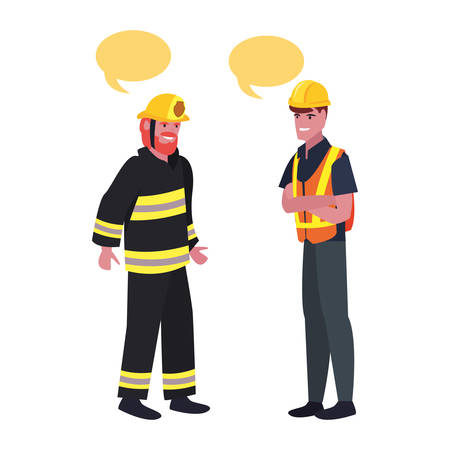 builder fireman employee labour day vector illustration