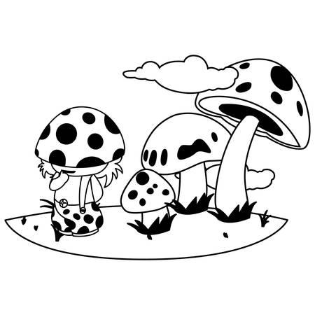 fungu elf in garden magic character vector illustration design 일러스트