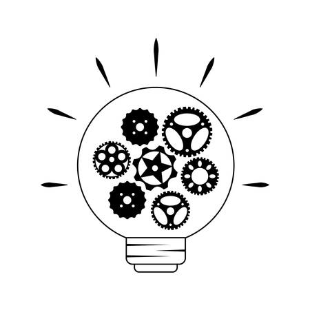 light bulb with gears pinions vector illustration design