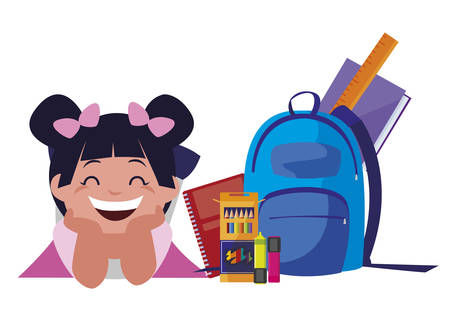 happy little schoolgirl with schoolbag and supplies vector illustration design Stock Illustratie