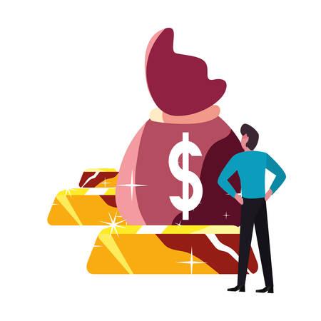 businessman money bag gold bars bank vector illustration