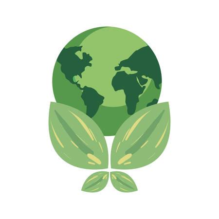 world natural leaves earth day vector illustration Stock Illustratie