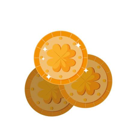 coins with clover saint patricks day vector illustration design Иллюстрация