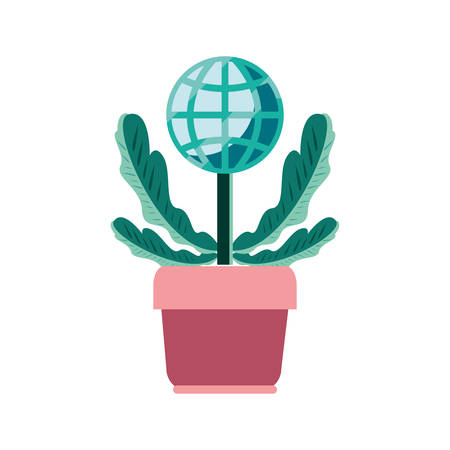 potted plant world trade on white background vector illustration Иллюстрация