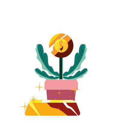 plant coin gold bar growth vector illustration