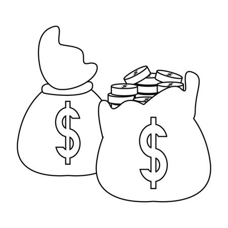 filled money bags coins banking vector illustration
