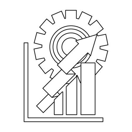 business diagram arrows gear work vector illustration design vector illustration