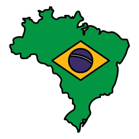 map with brazilian flag vector illustration design  イラスト・ベクター素材