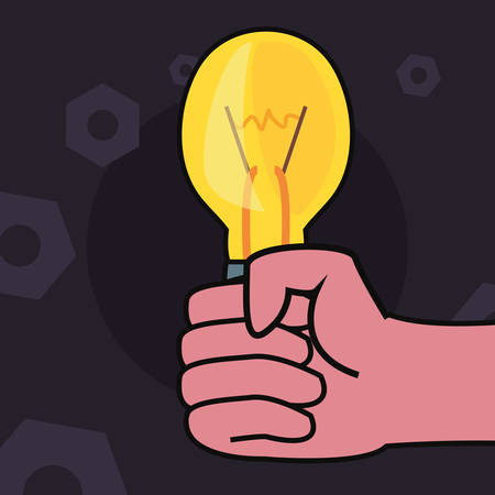 hand with light bulb tools vector illustration design