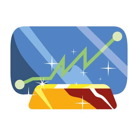 smartphone chart gold bar business vector illustration Иллюстрация