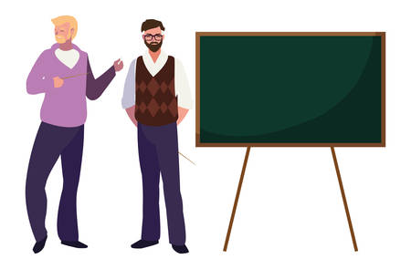 teachers couple with chalkboard characters vector illustration design Ilustração