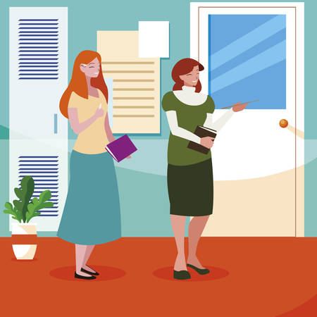 female teachers couple with textbooks in school corridor vector illustration design