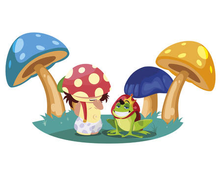 Toad prince and fungus elf in garden  イラスト・ベクター素材