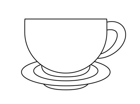 Cup with dish isolated icon  イラスト・ベクター素材