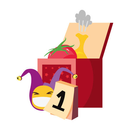 Emoji face jester hat calendar april fools day Illustration
