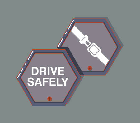 Drive safely design with warning signs and seat belt icon over gray