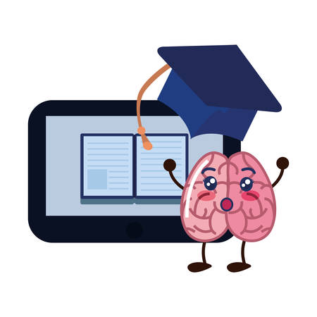 brain cartoon tablet education ebook graduation hat vector illustration