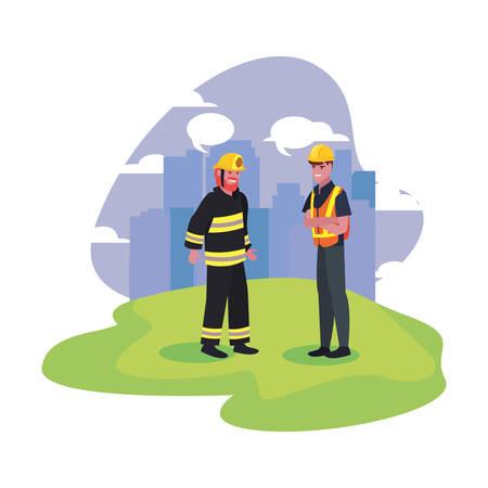 Builder fireman employee labor day