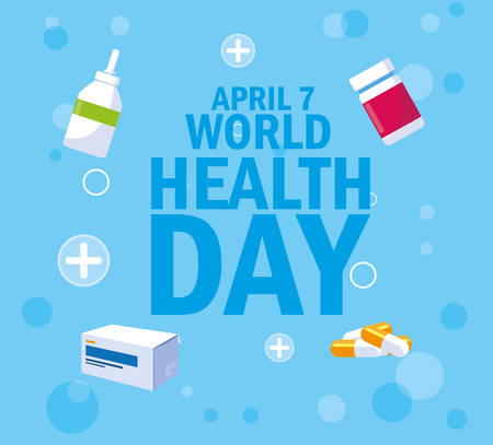 World health day card with bottles and medicines