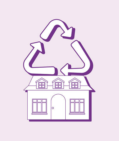 Smart home design with house and recycle over purple