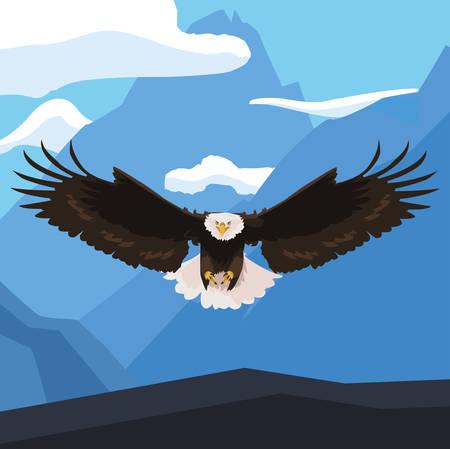 Beautiful bald eagle flying in the landscape Illusztráció
