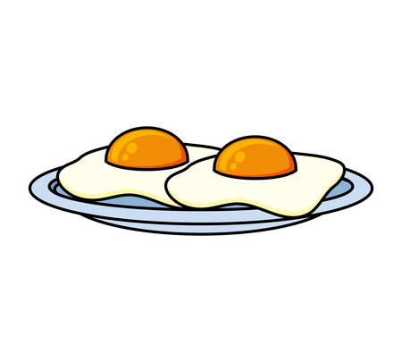 Delicious eggs fried food icon