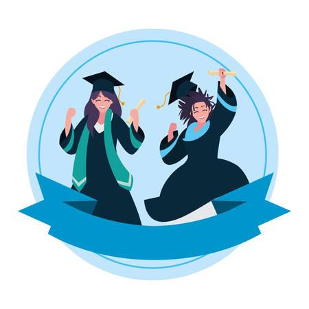 Beautiful women students graduated celebrating 일러스트